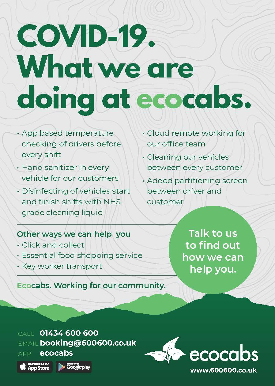 Hexham taxis covid 19 safety what we are doing at ecocabs